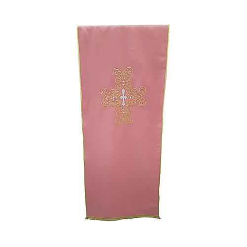 Lectern cover with gold and silver cross in rose polyester 1