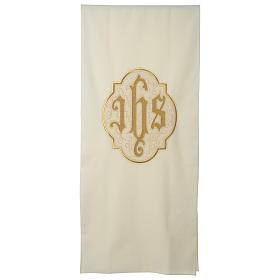Lectern cover IHS on velvet, ivory s1