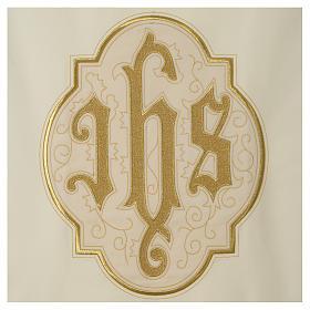 Lectern cover IHS on velvet, ivory s2