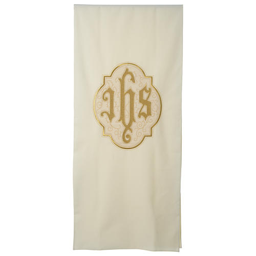Lectern cover IHS on velvet, ivory 1