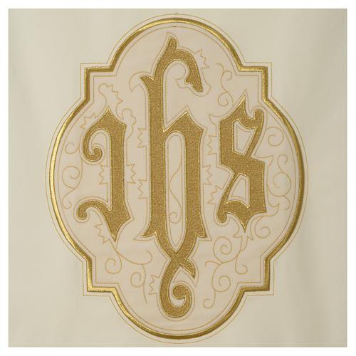 Lectern cover IHS on velvet, ivory 2
