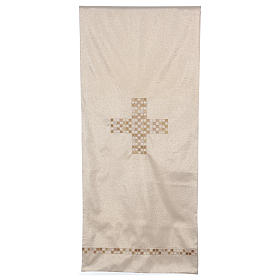 Gold pulpit cover with cross 98x21.5 inc s1