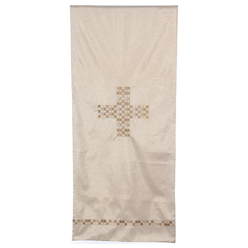 Gold pulpit cover with cross 98x21.5 inc 1