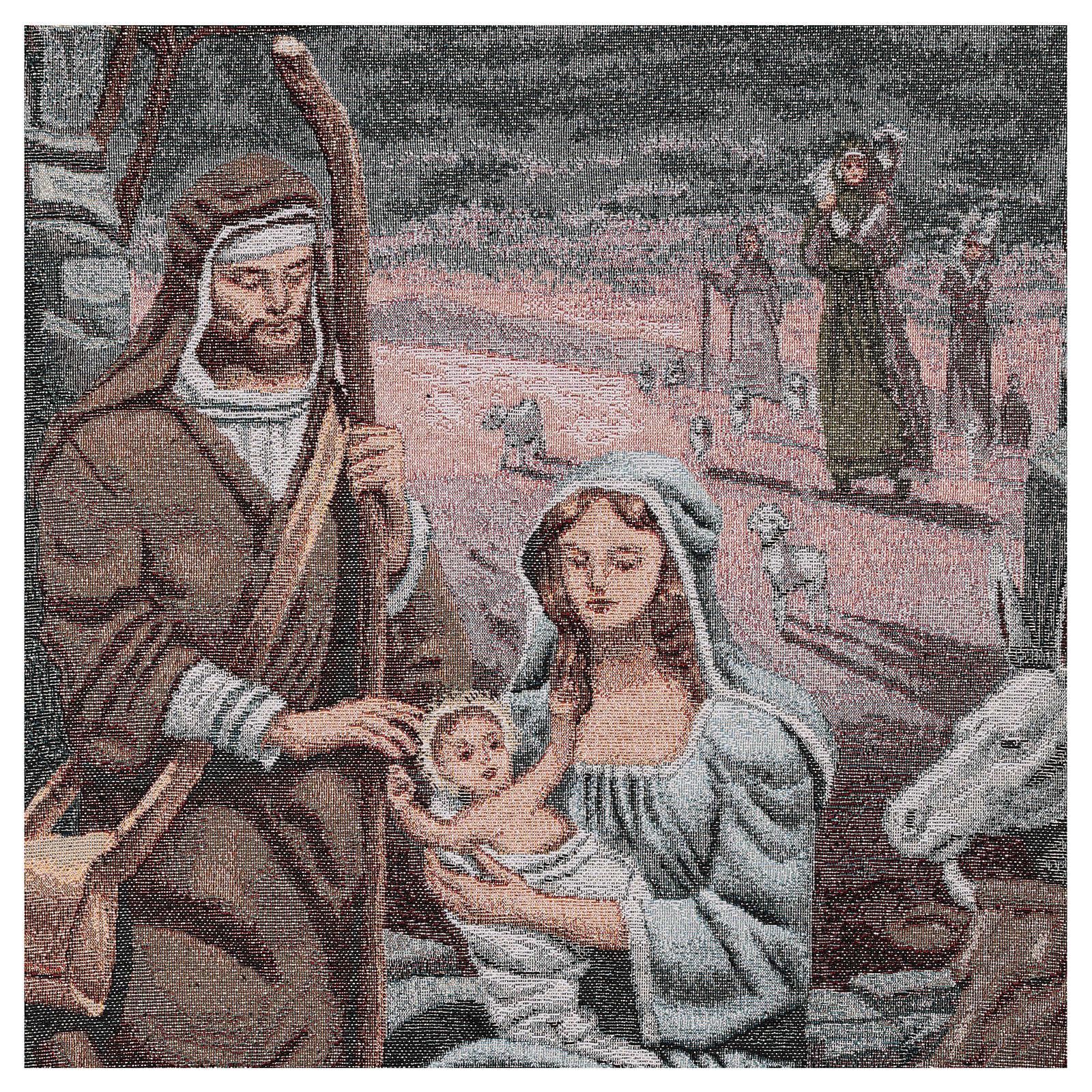 Paño de atril Natividad motivos hilo dorado algodón lurex marfil 4