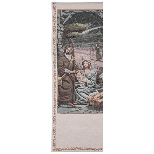 Paño de atril Natividad motivos hilo dorado algodón lurex marfil 1