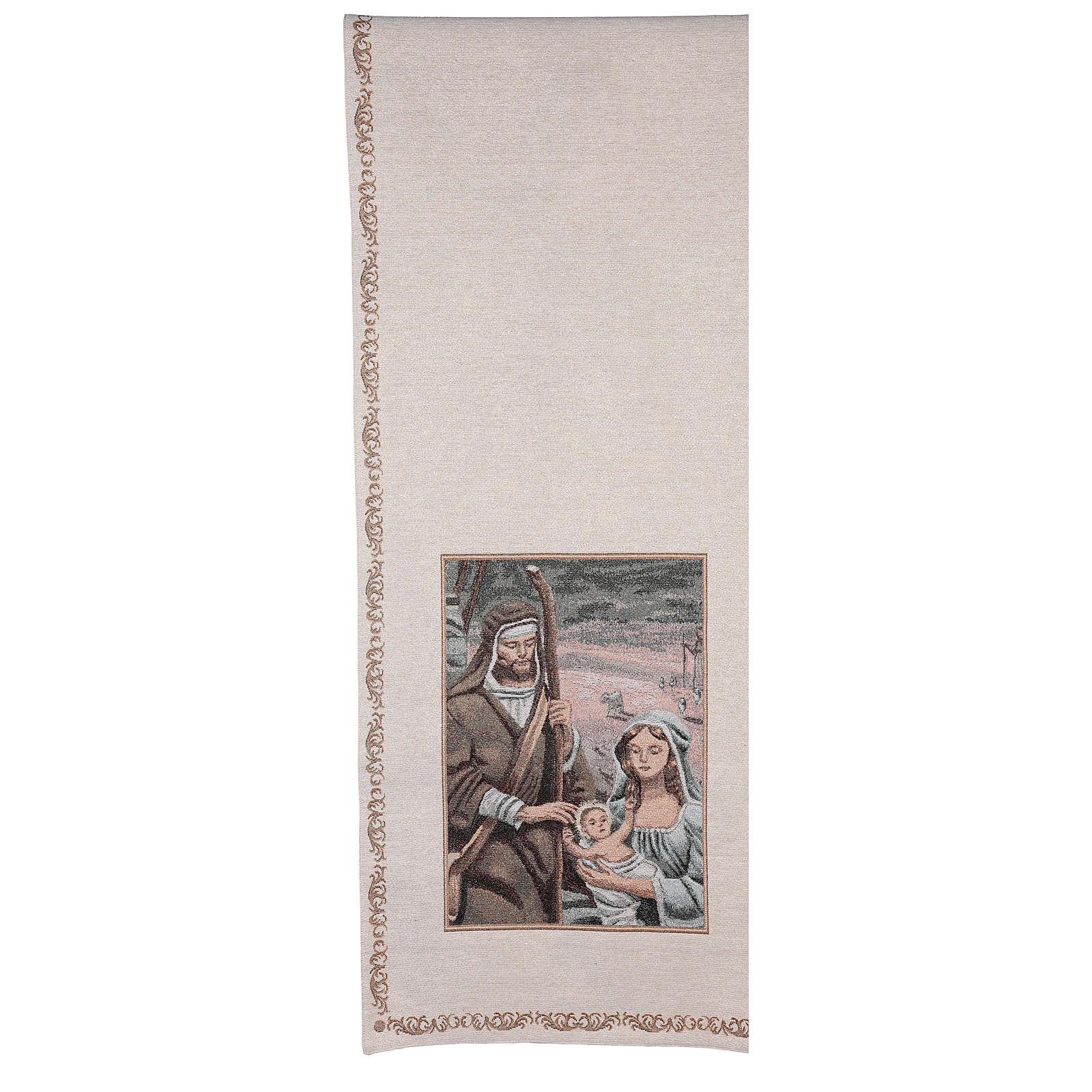 Voile de lutrin Nativité décorations fil doré coton lurex couleur ivoire 4