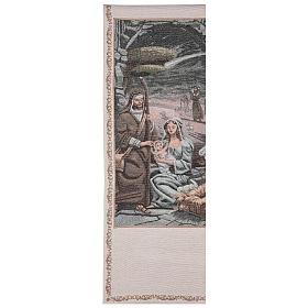 Voile de lutrin Nativité décorations fil doré coton lurex couleur ivoire s1