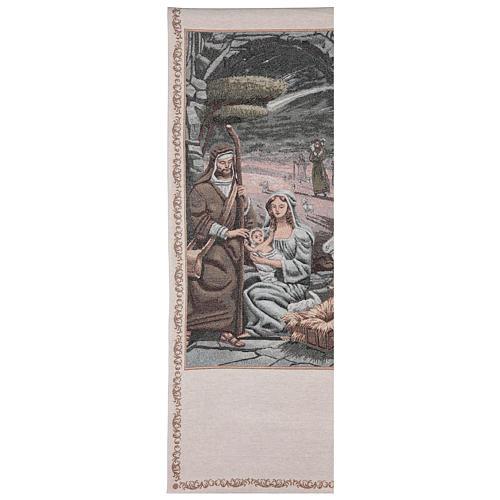 Voile de lutrin Nativité décorations fil doré coton lurex couleur ivoire 1