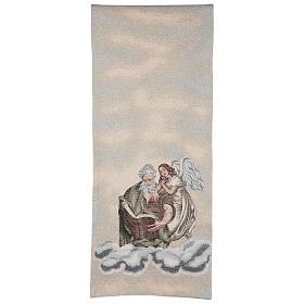 Voile de lutrin Saint Matthieu Évangéliste avec ange couleur ivoire s3