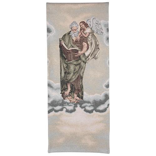 Voile de lutrin Saint Matthieu Évangéliste avec ange couleur ivoire 1