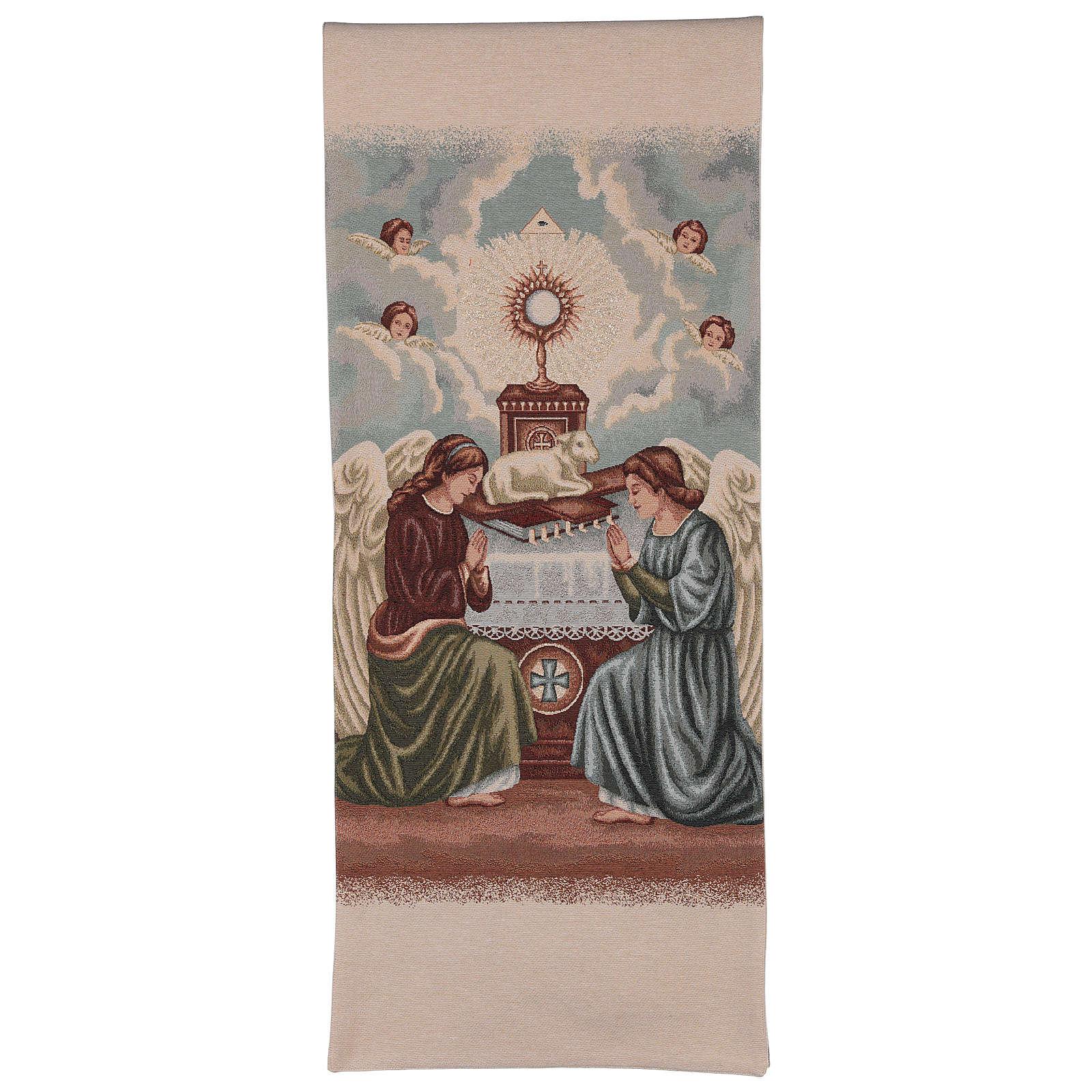 Voile de lutrin Anges en adoration avec ostensoir et agneau couleur ivoire 4