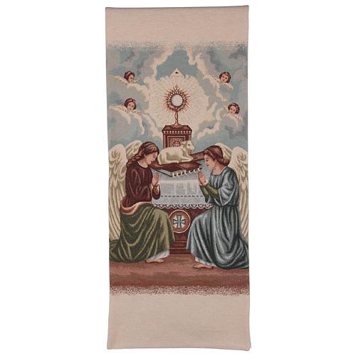 Voile de lutrin Anges en adoration avec ostensoir et agneau couleur ivoire 1