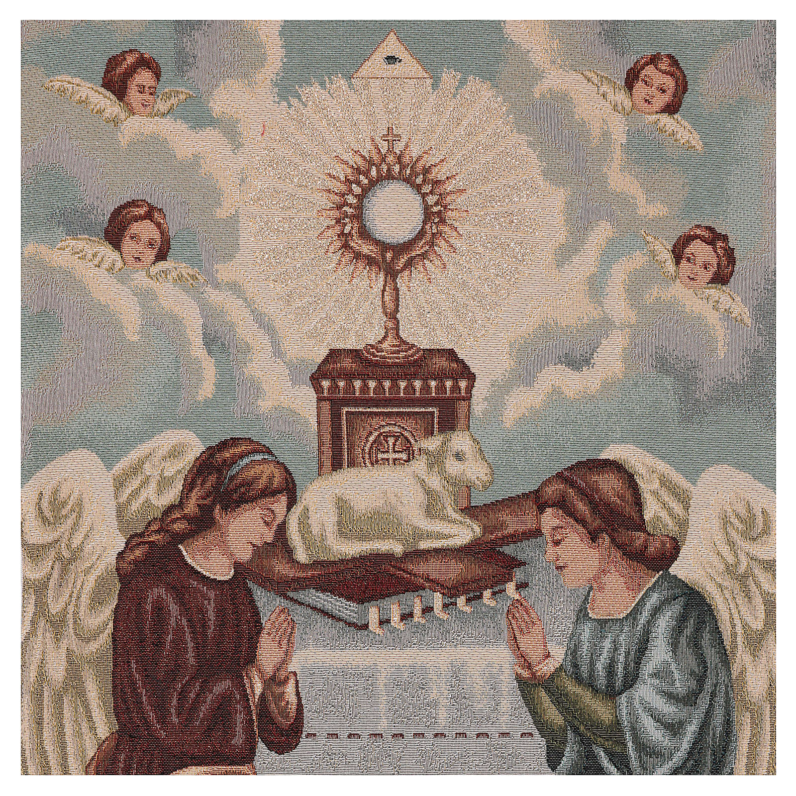 Coprileggio Angeli in adorazione con ostensorio e agnello avorio 4