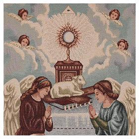 Coprileggio Angeli in adorazione con ostensorio e agnello avorio s2