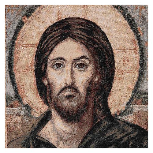 Voile de lutrin Christ Pantocrator coton lurex couleur ivoire 2