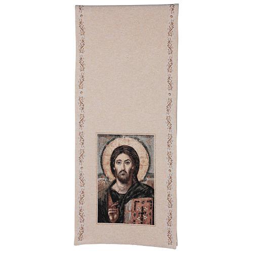 Voile de lutrin Christ Pantocrator coton lurex couleur ivoire 3