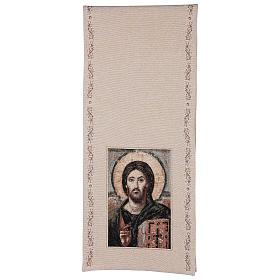 Coprileggio Cristo Pantocratore cotone lurex avorio s3