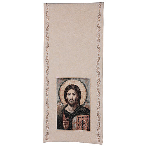 Coprileggio Cristo Pantocratore cotone lurex avorio 3