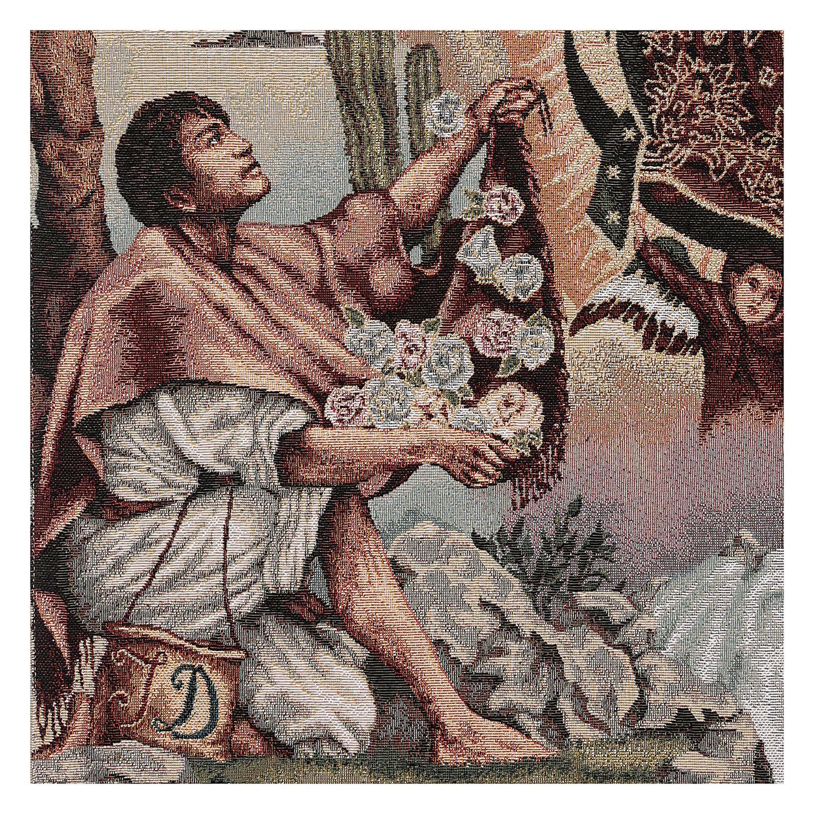 Paño de atril Juan Diego y Virgen de Guadalupe lurex marfil 4