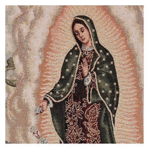 Paño de atril Juan Diego y Virgen de Guadalupe lurex marfil 2