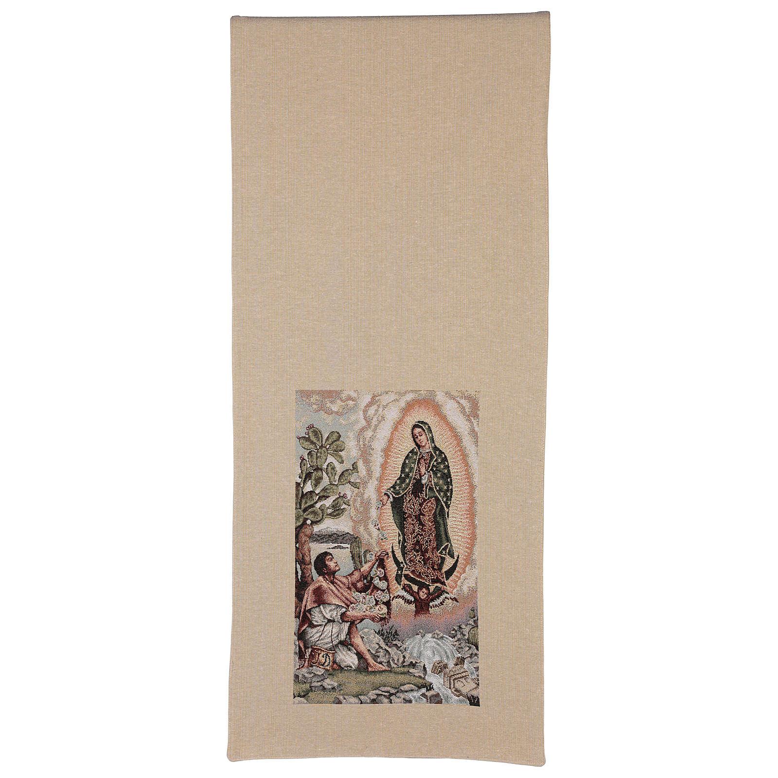 Voile de Lutrin Juan Diego et Notre-Dame de Guadalupe lurex couleur ivoire 4
