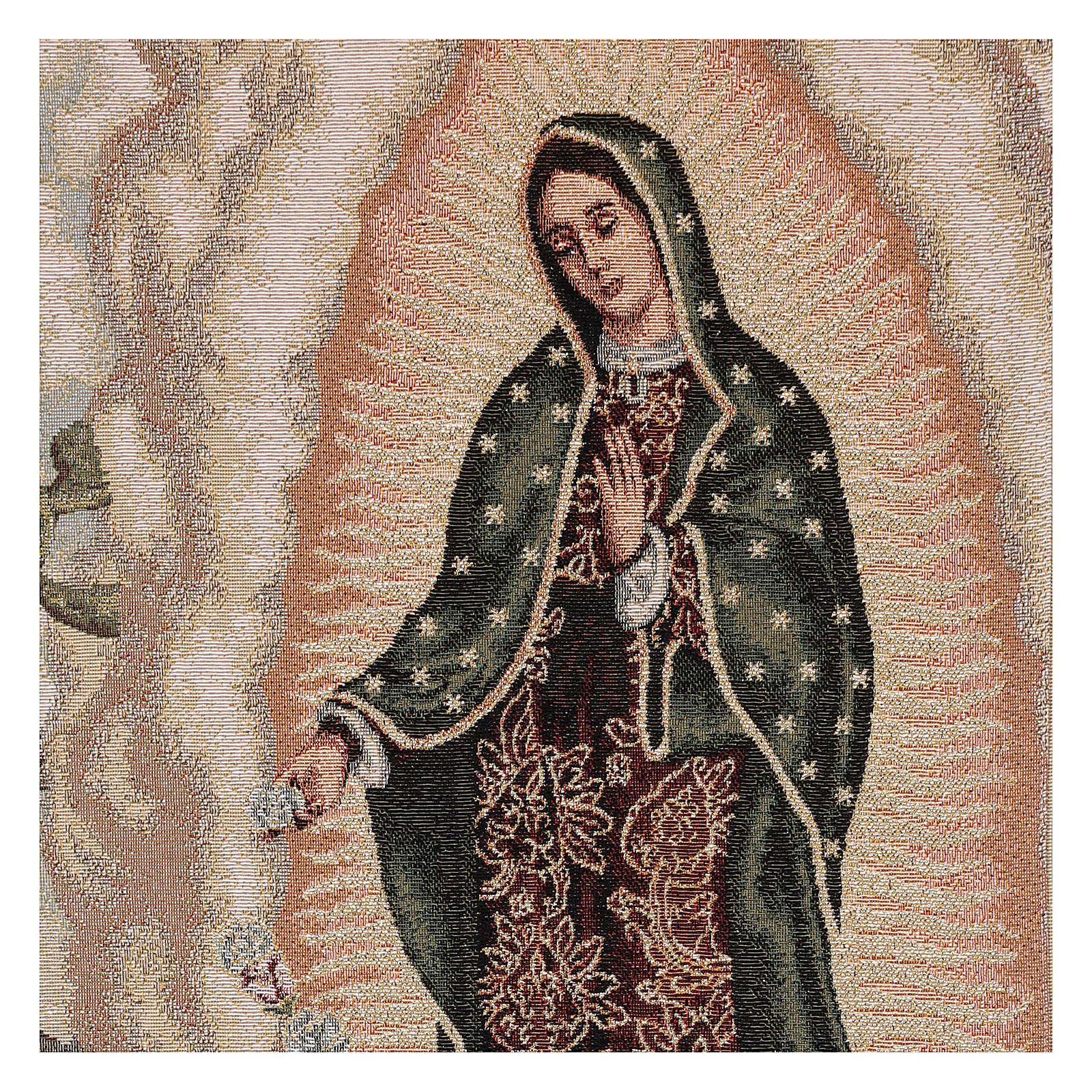 Coprileggio Juan Diego e Madonna di Guadalupe lurex avorio 4