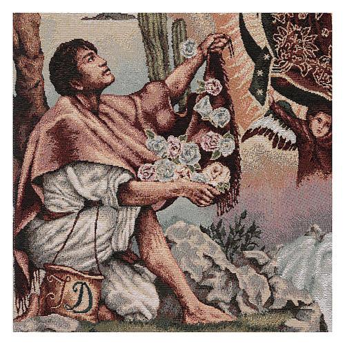 Coprileggio Juan Diego e Madonna di Guadalupe lurex avorio 3