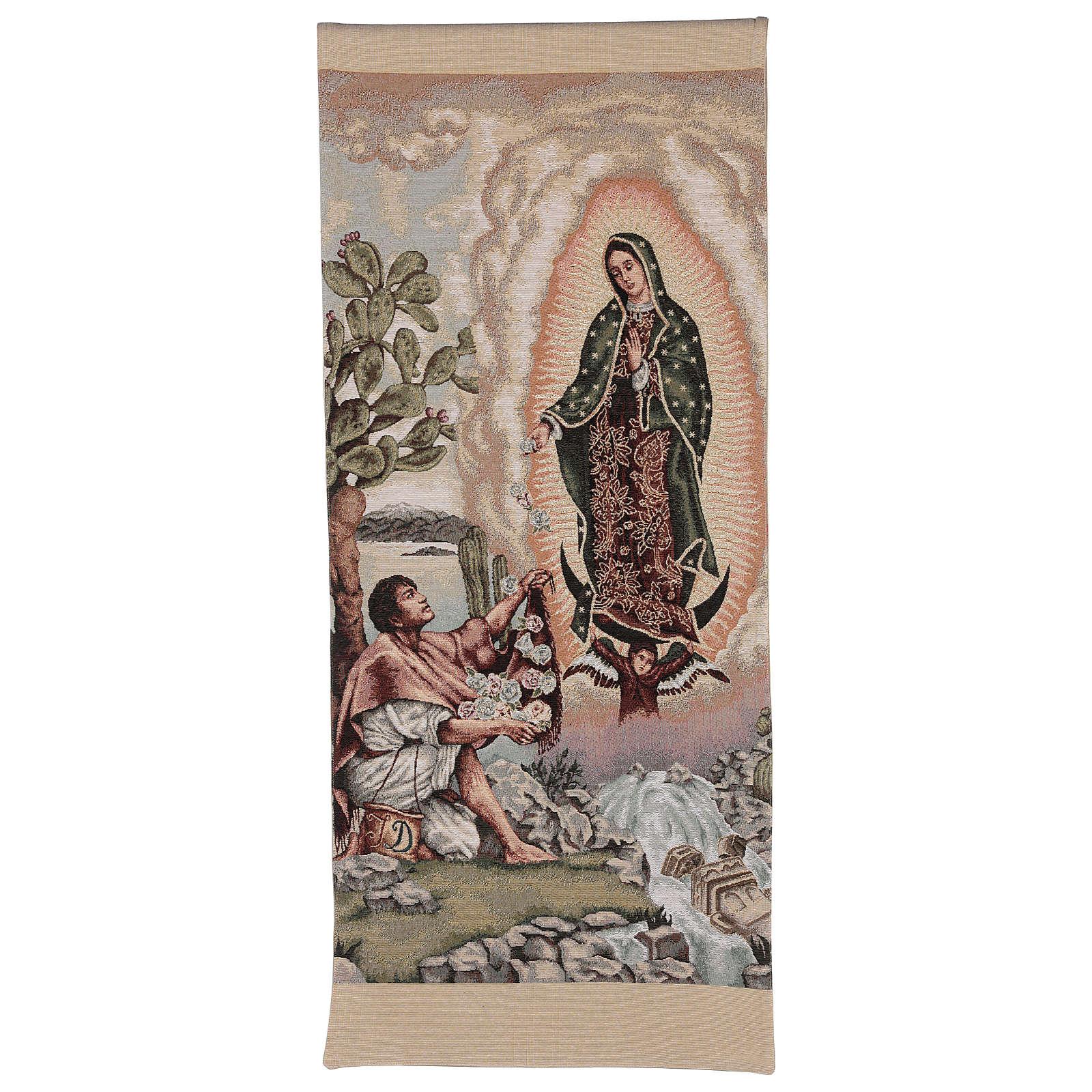 Pano de ambão Juan Diego e Nossa Senhora de Guadalupe lurex cor de marfim 4