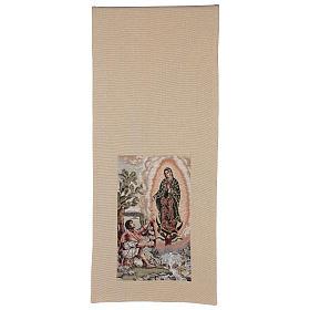 Pano de ambão Juan Diego e Nossa Senhora de Guadalupe lurex cor de marfim s5