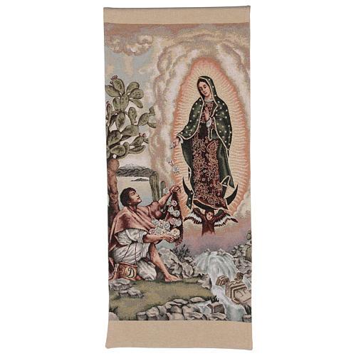 Pano de ambão Juan Diego e Nossa Senhora de Guadalupe lurex cor de marfim 1