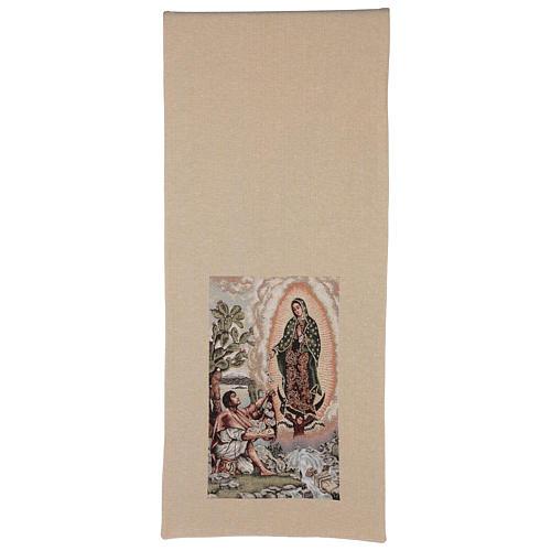 Pano de ambão Juan Diego e Nossa Senhora de Guadalupe lurex cor de marfim 5