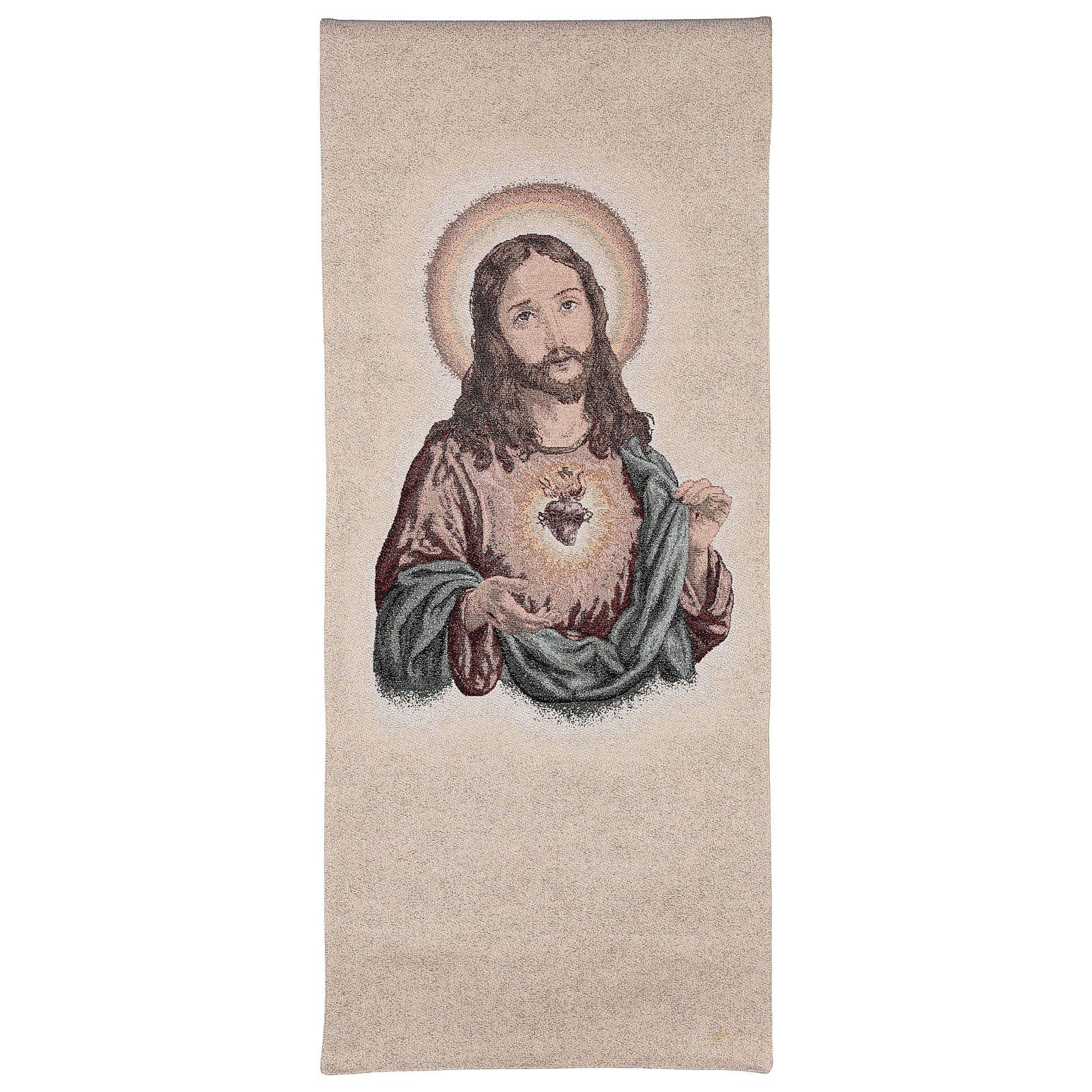Coprileggio ricamo S. Cuore di Gesù su fondo avorio e fili dorati 4
