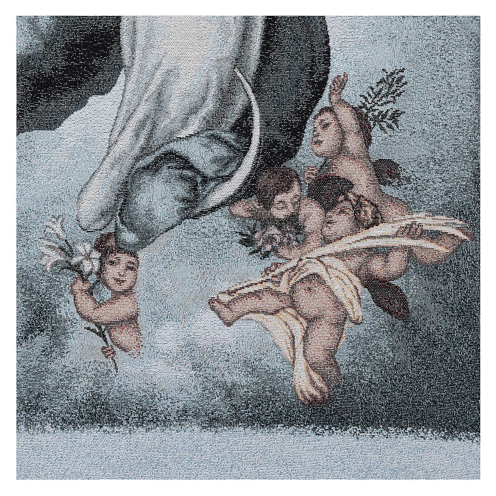 Coprileggio Vergine Maria Immacolata ricamato sfondo azzurro 4