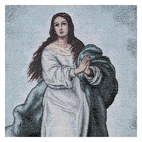 Coprileggio Vergine Maria Immacolata ricamato sfondo azzurro s2