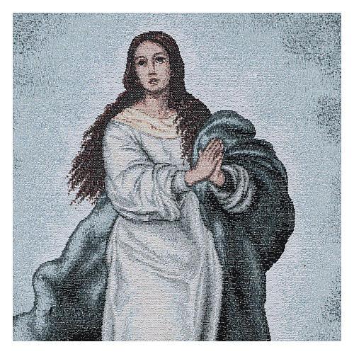 Coprileggio Vergine Maria Immacolata ricamato sfondo azzurro 2