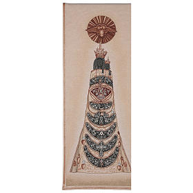 Paño de atril Virgen de Loreto bordada en un tejido marfil s1