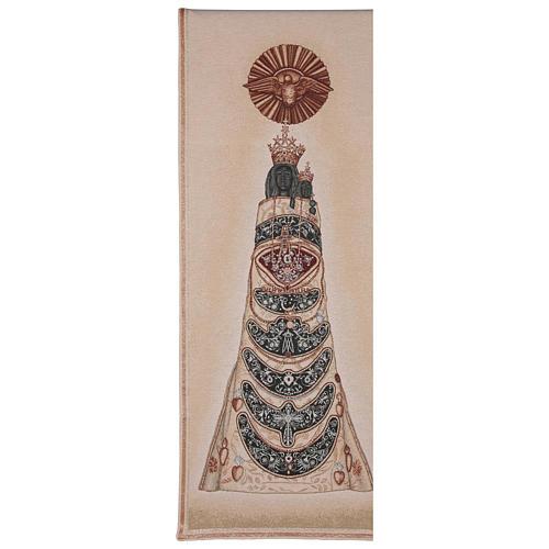 Paño de atril Virgen de Loreto bordada en un tejido marfil 1