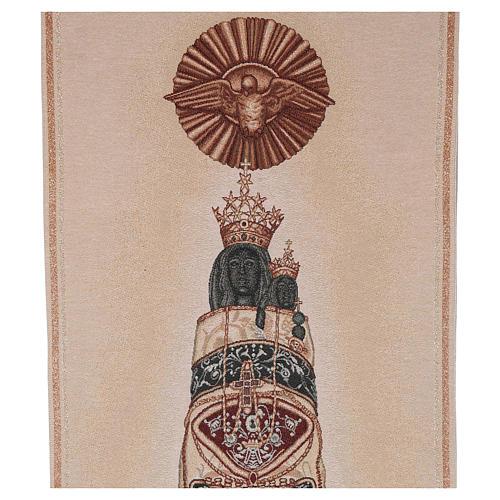 Coprileggio Madonna di Loreto ricamata su tessuto avorio 2