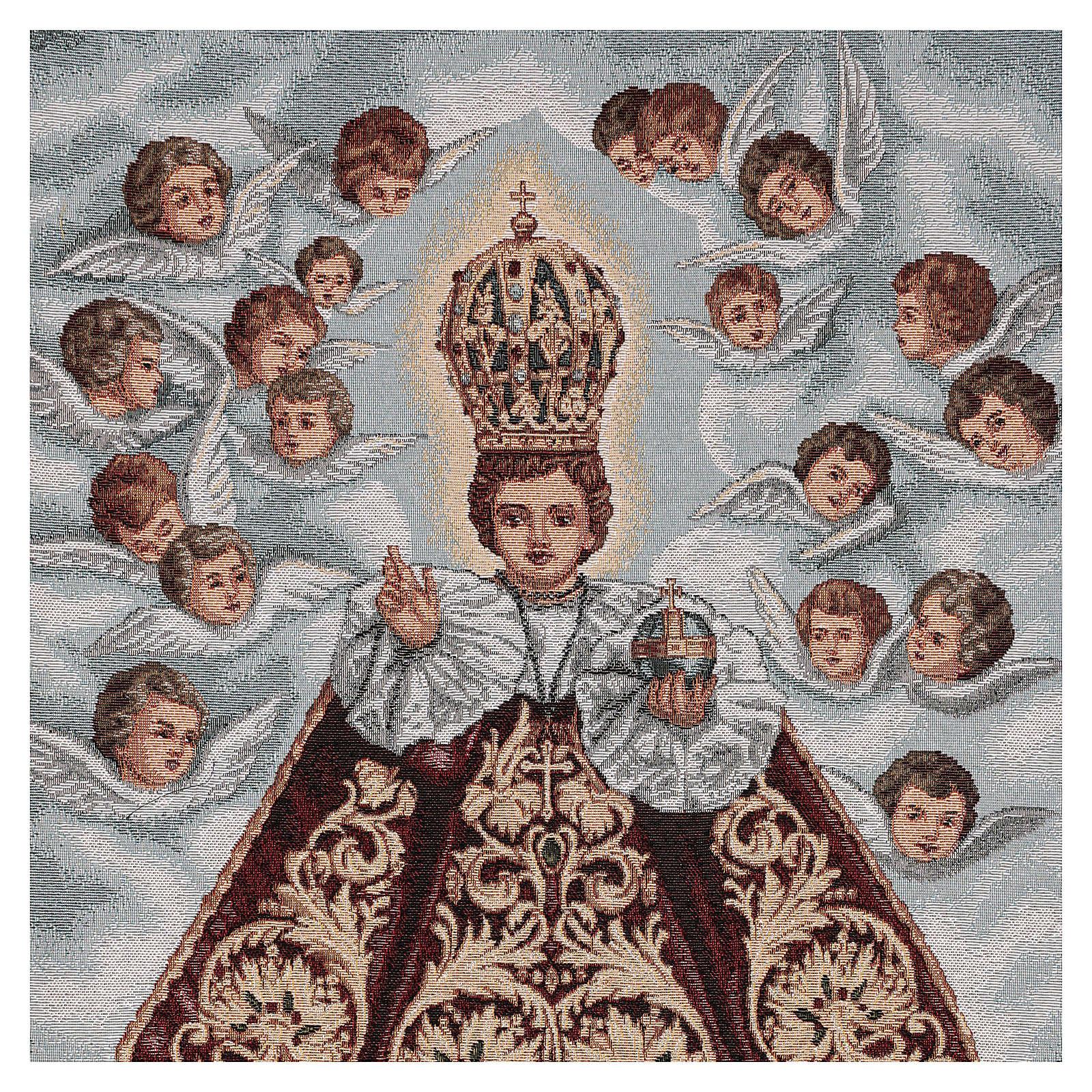 Voile de lutrin Enfant Jésus de Prague et anges fond bleu 4