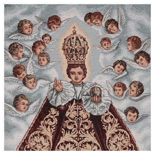 Voile de lutrin Enfant Jésus de Prague et anges fond bleu 2