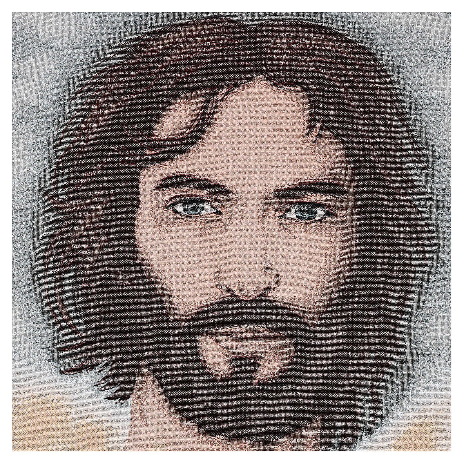 Coprileggio vocazione e volto di Gesù cotone lurex avorio 4