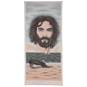 Coprileggio vocazione e volto di Gesù cotone lurex avorio s1