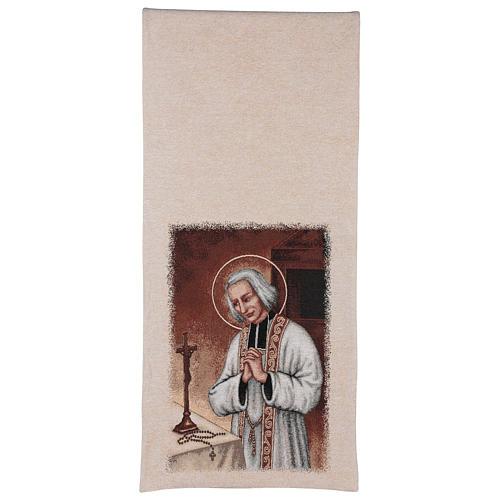 Voile de lutrin broderie Curé d'Ars coton lurex couleur ivoire 3