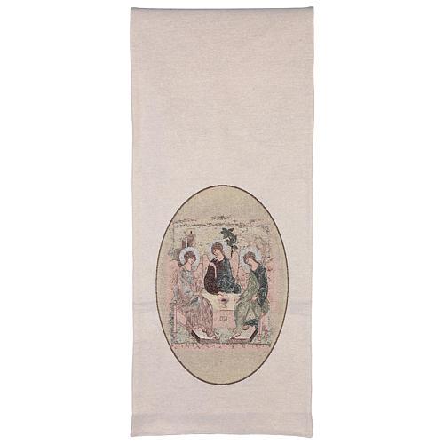 Paño de atril Trinidad de Rublev bordado en tejido marfil 3
