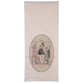 Voile de lutrin Trinité de Roublev brodé sur tissu couleur ivoire s3