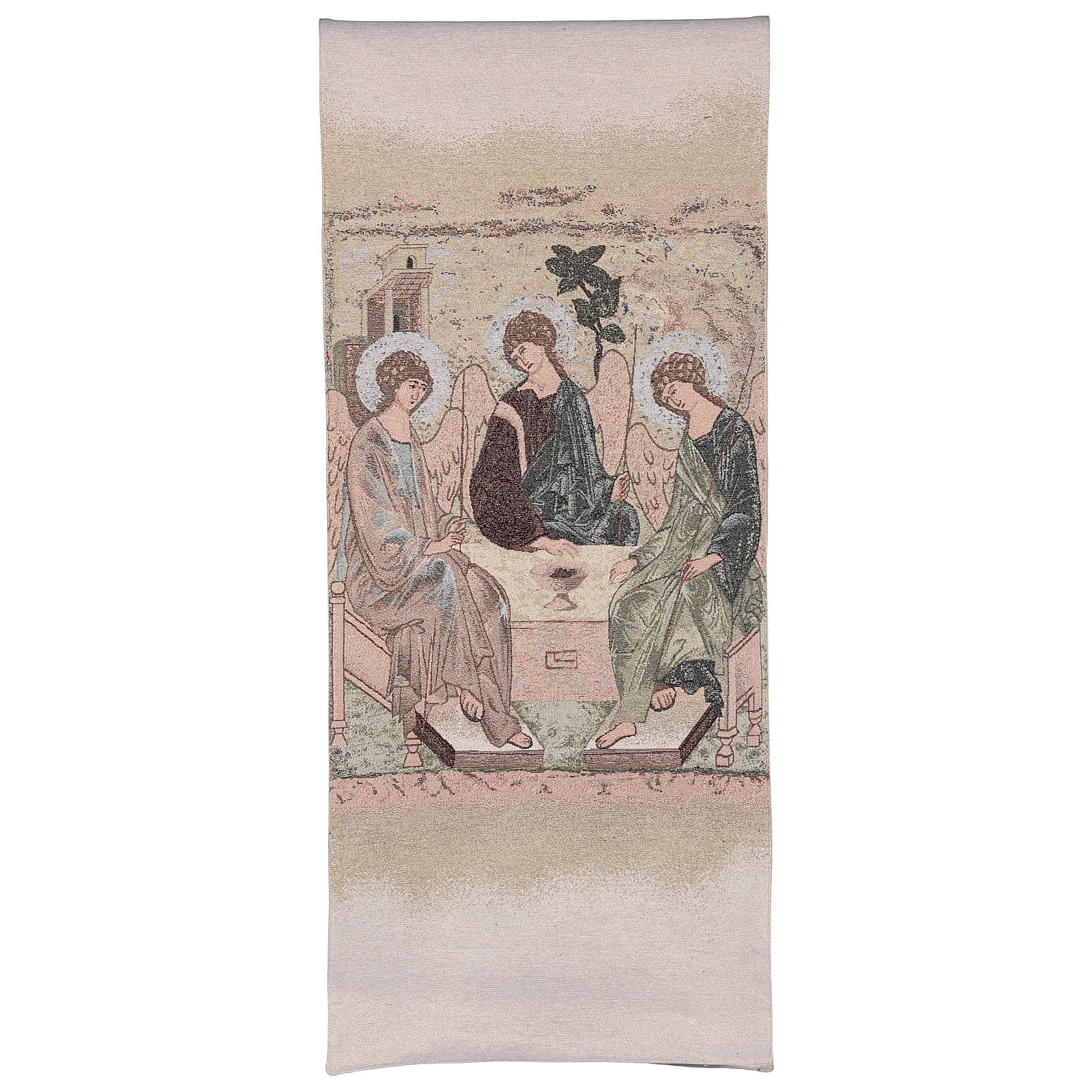 Coprileggio Trinità di Rublev ricamato su tessuto avorio 4