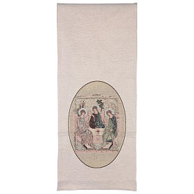 Coprileggio Trinità di Rublev ricamato su tessuto avorio s3