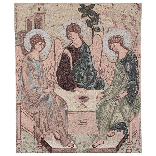 Coprileggio Trinità di Rublev ricamato su tessuto avorio 2