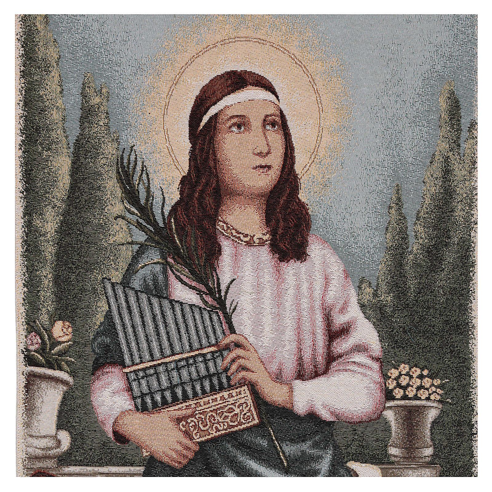 Paño de atril S. Cecilia con instrumentos musicales lurex marfil 4