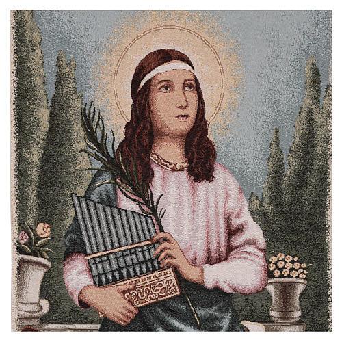 Paño de atril S. Cecilia con instrumentos musicales lurex marfil 2